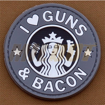 Parche goma 3D I Love Guns & Bacon