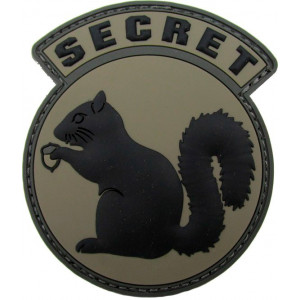 Parche de goma 3D Secret Squirrel negro