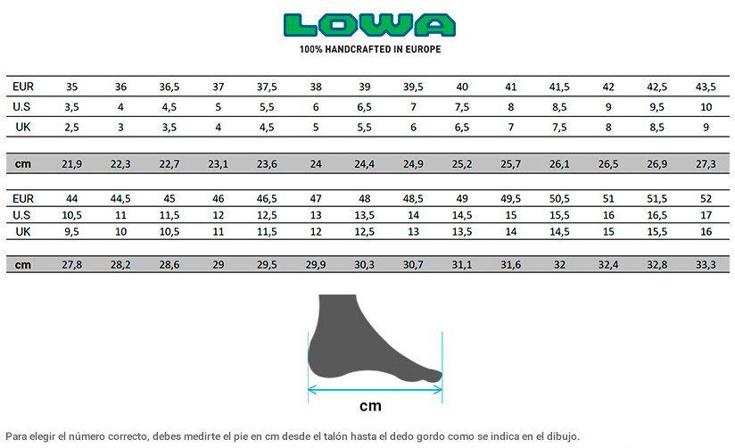 Table medidas botas LOWA Z-8S C