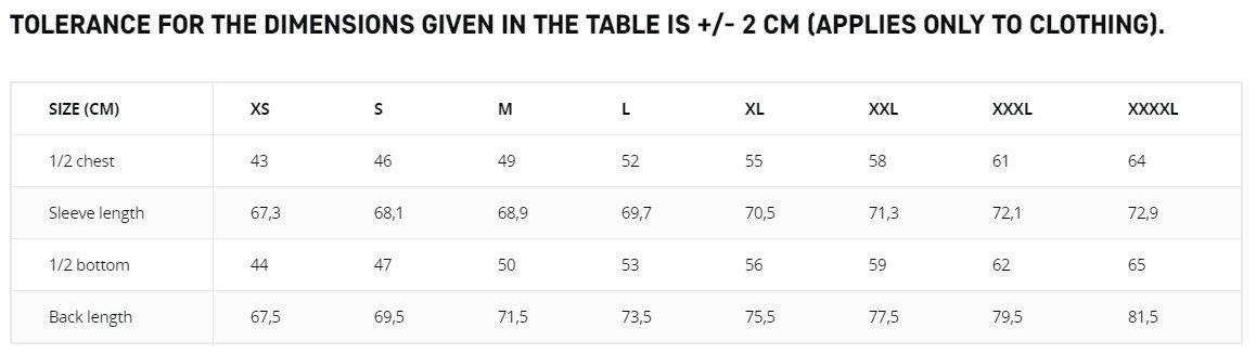 Table de tallas MCDU COMBAT SHIRT