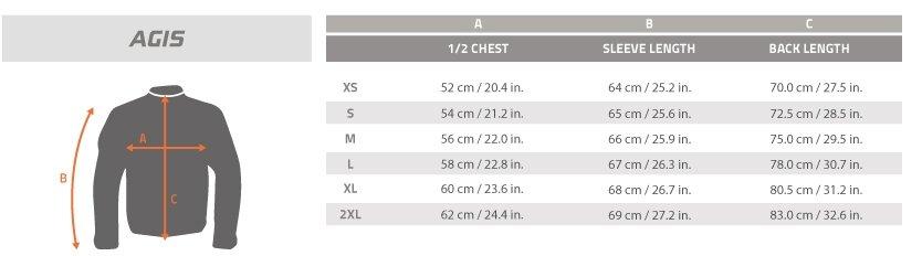 Guía de talla sudadera Pentagon Agis