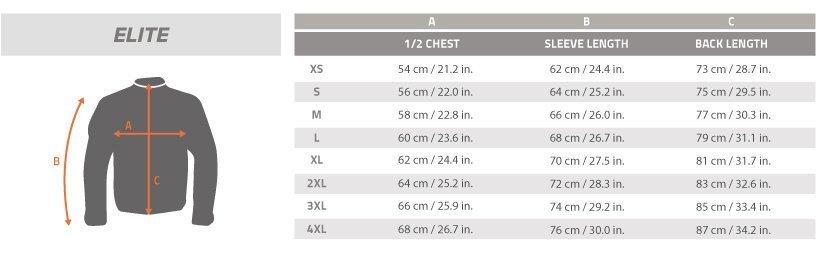 Guía de talla ELITE LIGHT SOFTSHELL JACKET